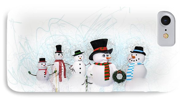 Snowmen IPhone Case by Methune Hively