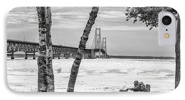 IPhone Case featuring the photograph Snowmobile Michigan Black And White  by John McGraw