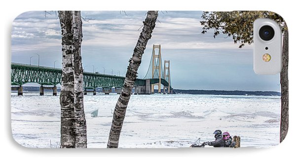 IPhone Case featuring the photograph Snowmobile Michigan  by John McGraw
