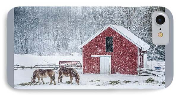 Snowstorm Stowe Vermont IPhone Case by Edward Fielding