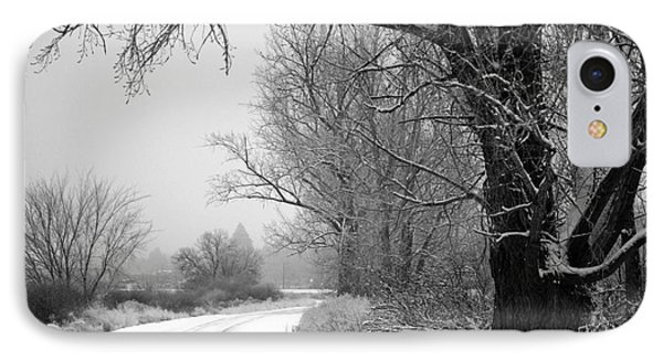 Snowy Branch Over Country Road - Black And White Phone Case by Carol Groenen
