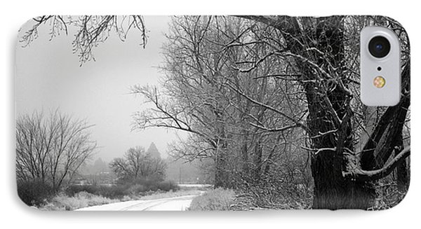 Snowy Branch Over Country Road - Black And White IPhone Case by Carol Groenen