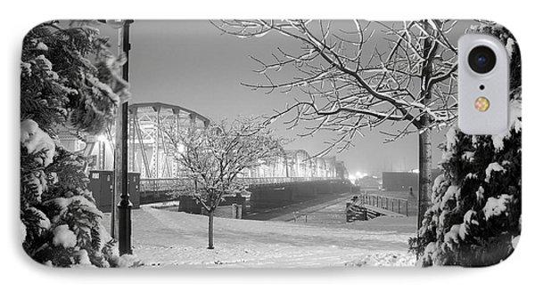 Snowy Bridge With Trees Phone Case by Jeremy Evensen