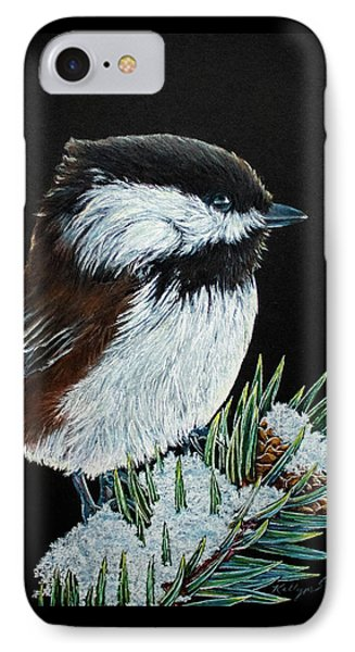 Snowy Chickadee IPhone Case by Kelly Strope