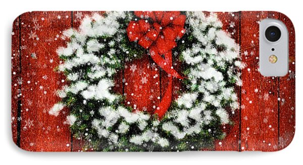 Snowy Christmas Wreath IPhone Case by Lois Bryan