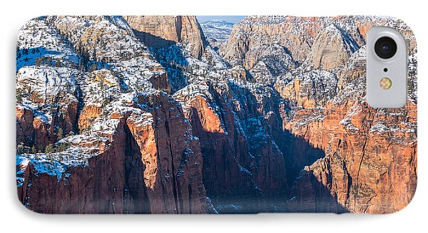 Snowy Cliffs Of Zion National Park IPhone Case by James Udall