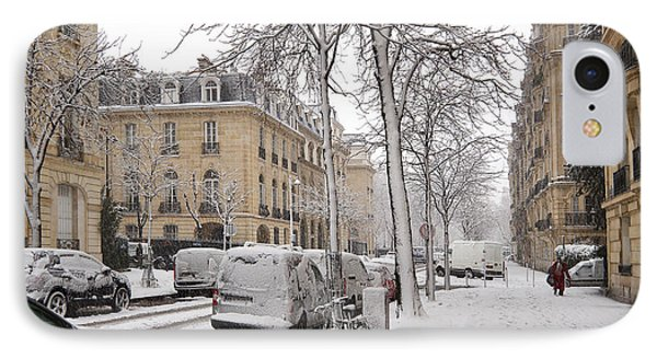 Snowy Day In Paris Phone Case by Louise Heusinkveld