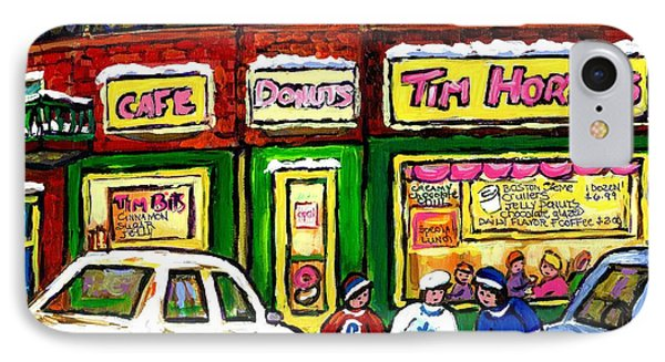Snowy Day Original Canadian Hockey Art Paintings For Sale The Donut Shop Hot Coffee At Tim Horton's IPhone Case by Carole Spandau