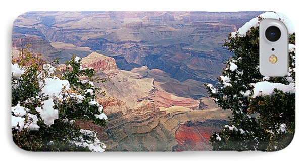Snowy Dropoff - Grand Canyon IPhone Case by Larry Ricker