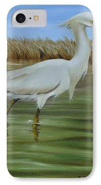 IPhone Case featuring the painting Snowy Egret 1 by Phyllis Beiser