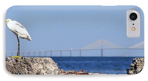 Snowy Egret And Sunshine Skyway Bridge IPhone Case by David Lee Thompson