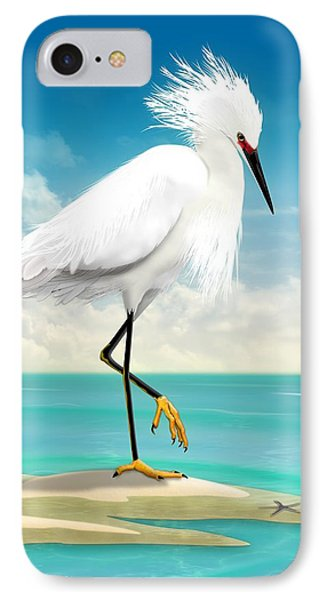 Snowy Egret On Beach  IPhone Case by John Wills