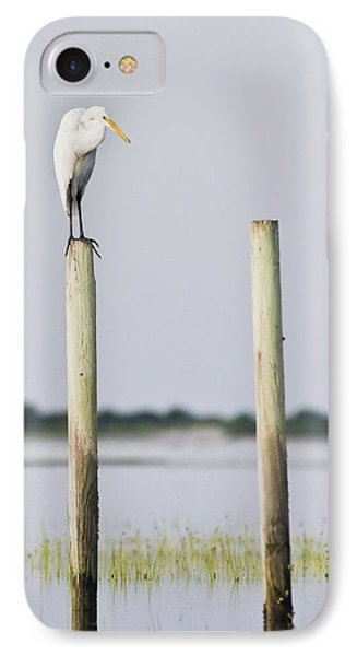 IPhone Case featuring the photograph Snowy Egret On Pilings by Bob Decker