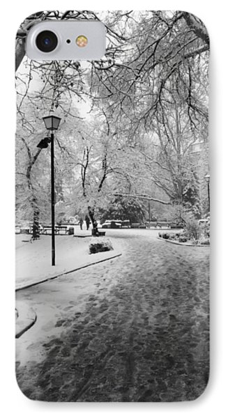 Snowy Entrance To The Park Phone Case by Rae Tucker