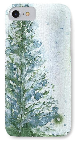 IPhone Case featuring the painting Snowy Fir Tree by Dawn Derman
