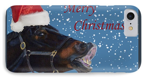 Snowy Horse Jumping Christmas IPhone Case