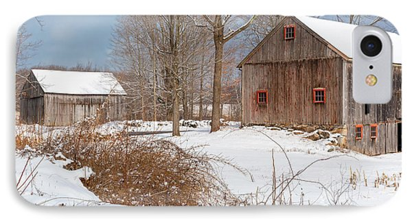 Snowy New England Barns 2016 IPhone Case by Bill Wakeley