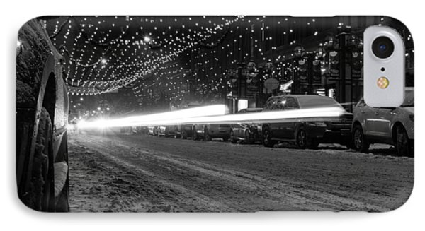 Snowy Night Light Trails IPhone Case