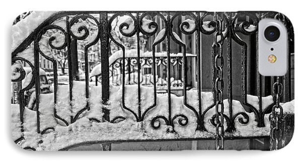 IPhone Case featuring the painting Snowy Nyc Steps by Joan Reese