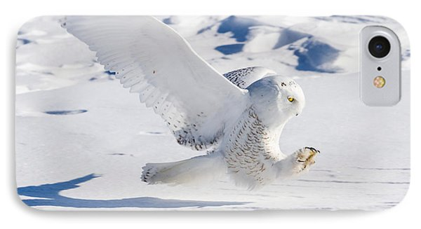 IPhone Case featuring the photograph Snowy Owl Pouncing by Rikk Flohr