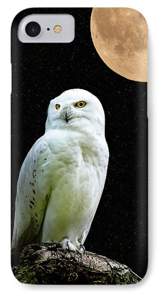 Snowy Owl Under The Moon IPhone Case by Scott Carruthers