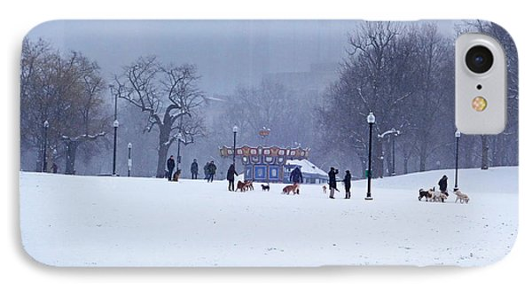 Snowy Playtime Boston Common Boston Ma IPhone Case by Toby McGuire