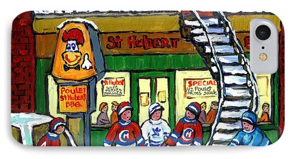 Snowy Staircase Street Hockey Original Montreal Paintings For Sale St Hubert Bbq  Winter Scene Art IPhone Case by Carole Spandau