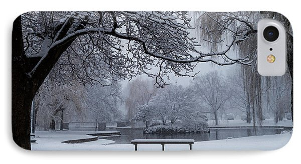 Snowy Tree The Public Garden Boston Ma Bench IPhone Case by Toby McGuire