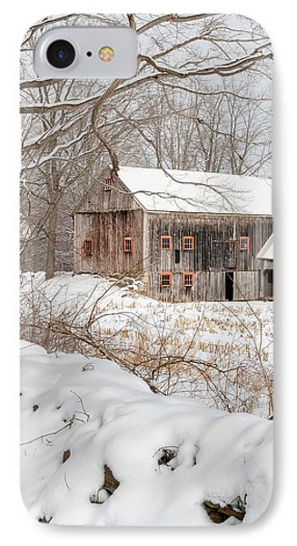 Snowy Vintage New England Barn IPhone Case by Bill Wakeley