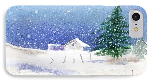Snowy Winter Scene IPhone Case by Arline Wagner
