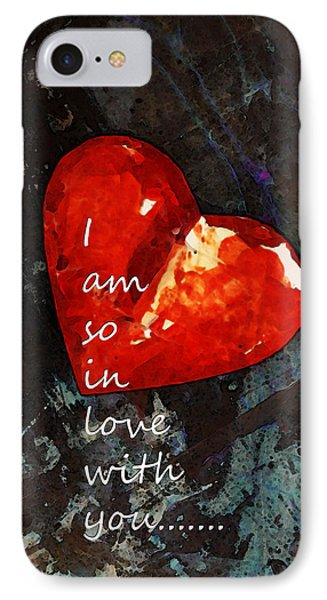 So In Love With You - Romantic Red Heart Painting Phone Case by Sharon Cummings