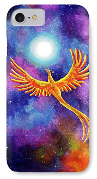 Soaring Firebird In A Cosmic Sky IPhone Case by Laura Iverson