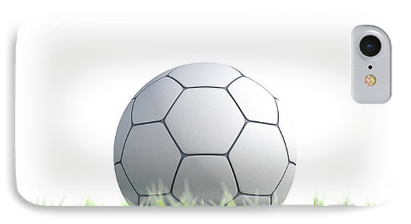 Soccer Ball Resting On Grass IPhone Case by Allan Swart