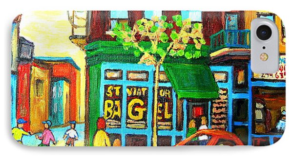 Soccer Game At The Bagel Shop Phone Case by Carole Spandau