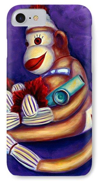 Sock Monkey With Kazoo IPhone Case