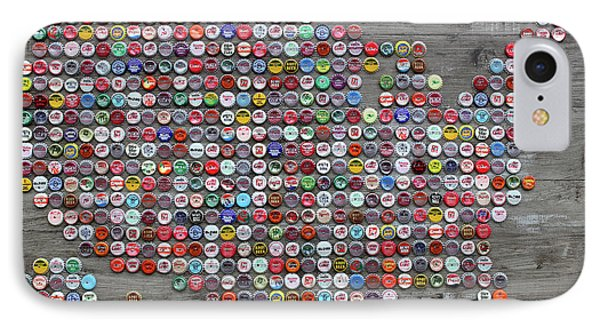 Soda Pop Bottle Cap Map Of The United States Of America Phone Case by Design Turnpike