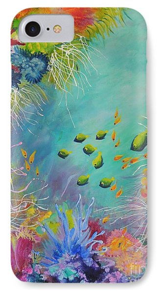IPhone Case featuring the painting Soft And Hard Reef Corals by Lyn Olsen
