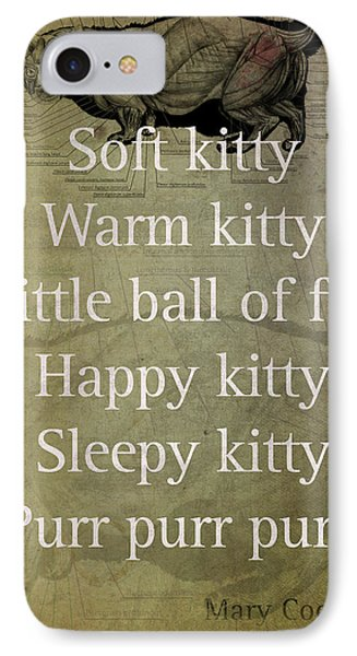 Soft Kitty Warm Kitty Poem Quotation Big Bang Theory Inspired Sheldon Cooper Mother On Worn Canvas IPhone Case by Design Turnpike