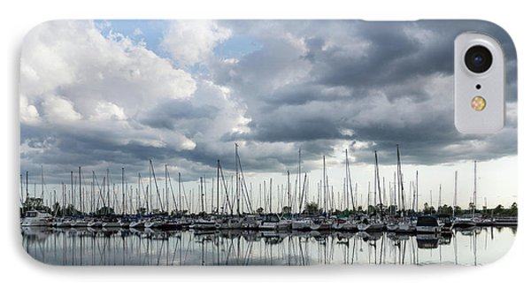 Soft Silver - Reflecting On Boats And Clouds IPhone Case