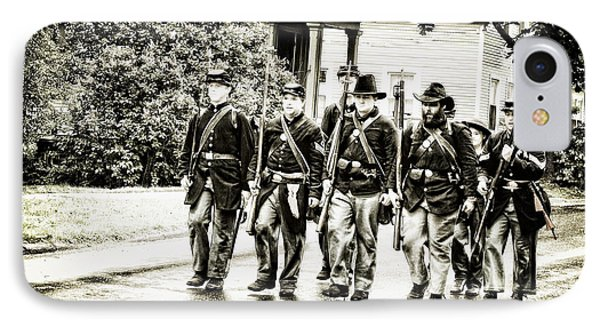 Soldiers Marching In Parade IPhone Case by Rena Trepanier