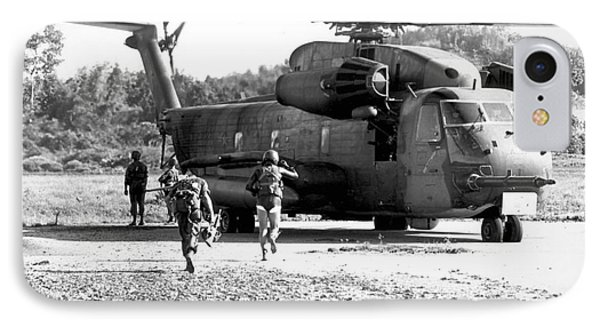 Soldiers Run To A Hh-53c Helicopter Phone Case by Stocktrek Images