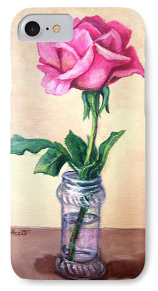 IPhone Case featuring the painting Solo Rose by Laura Aceto