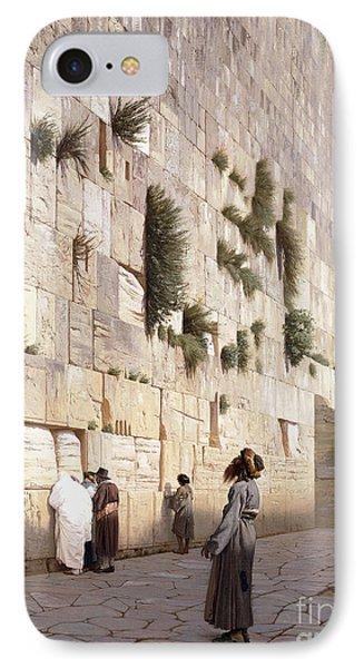 Solomon's Wall, Jerusalem  The Wailing Wall IPhone Case by Jean Leon Gerome
