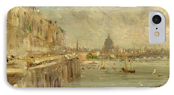 Somerset House Terrace From Waterloo Bridge IPhone Case by John Constable