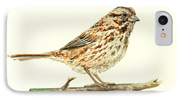 Sparrow iPhone 7 Case - Song Sparrow by Juan  Bosco