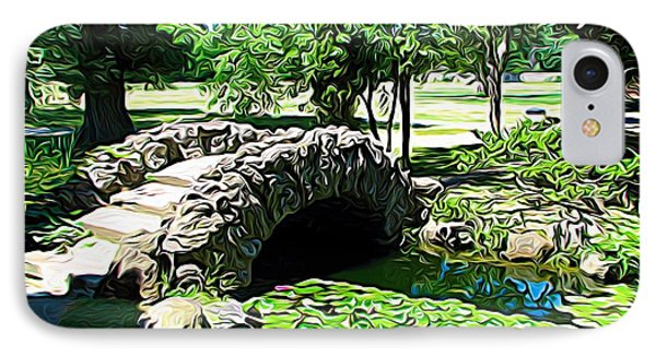 Sonnenberg Gardens Japanese Garden Bridge And Waterlily Pond Expressionist Effect IPhone Case