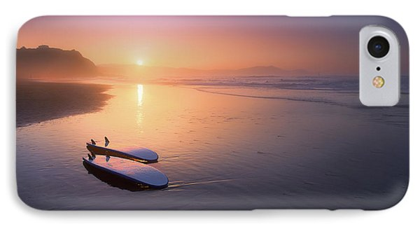 Sopelana Beach With Surfboards On The Shore IPhone Case by Mikel Martinez de Osaba