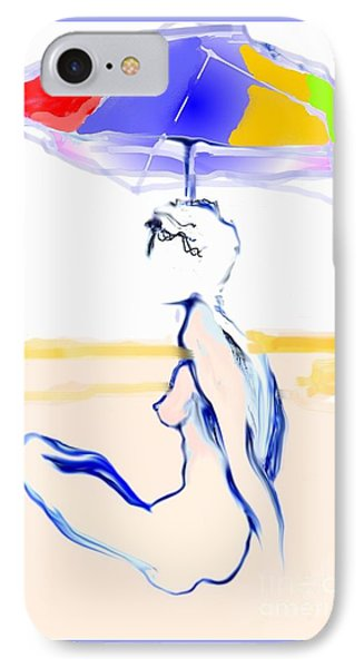 IPhone Case featuring the painting Sophi's Umbrella #2 - Female Nude by Carolyn Weltman