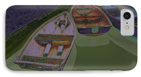 IPhone Case featuring the photograph Sorrento Harbor Boats With Sabattier by Bill Barber