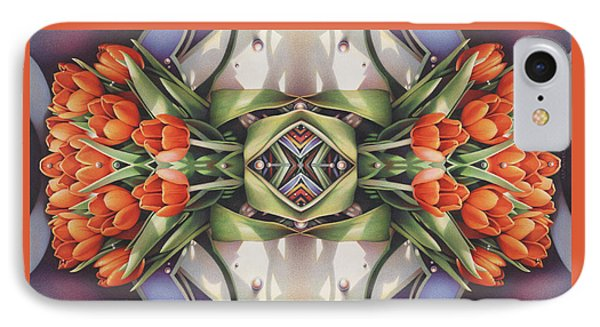 Soul Plexus - Tulips With Pearl Chakras Phone Case by Amy S Turner